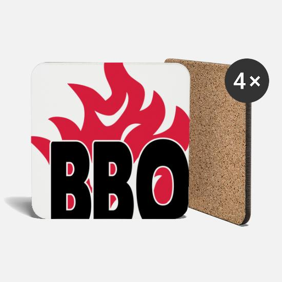 Grill Mugs & Drinkware - bbq with flames 2c - Coasters white