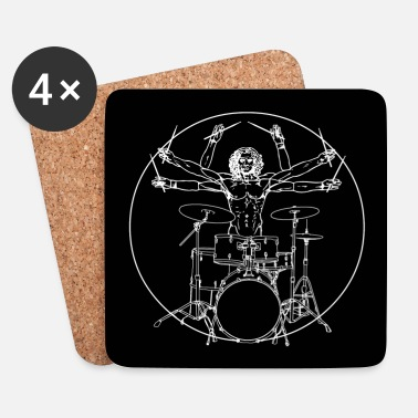 Hardrock Da Vinci Rocks drums (2) - Dessous de verre (lot de 4)