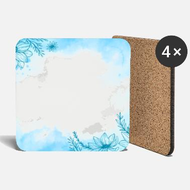 powder pastel white blue element pattern - Coasters