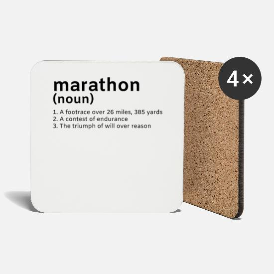 Motivation Mugs & Drinkware - Marathon Running Say Meaning Racing Run - Coasters white