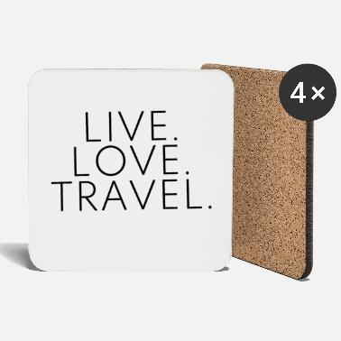 Travel Live Love Travel -suunnittelu Travel Travel Black - Lasinalustat
