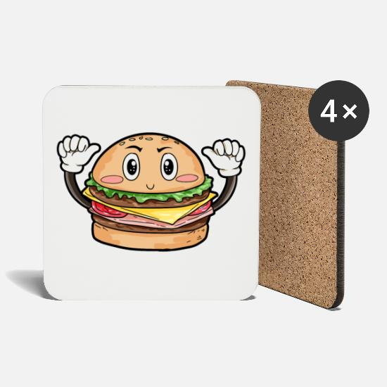 Gift Idea Mugs & Drinkware - Burger food gourmet gift - Coasters white