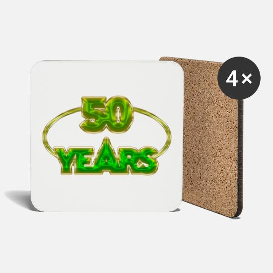 Birthday Mugs & Drinkware - 50 Years - 50 years - Coasters white