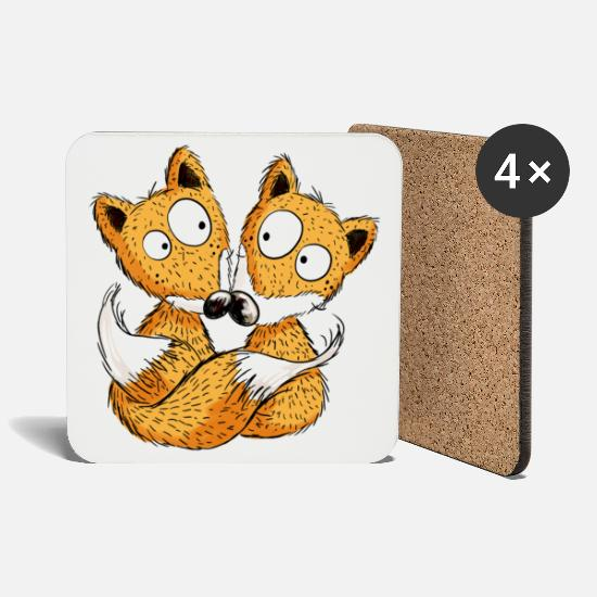 Couple Love Mugs & Drinkware - Fox In Love - Foxes - Couple - Gift - Coasters white