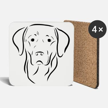 Labrador dog head drawing dog dog love art - Coasters
