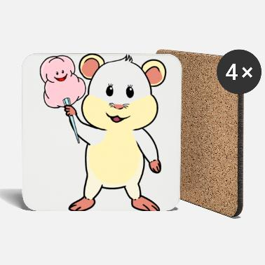 Dish Hamster rodent rodents cotton candy sweets - Coasters
