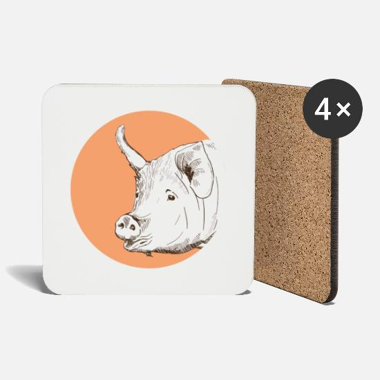 Hog Mugs & Drinkware - pig - Coasters white