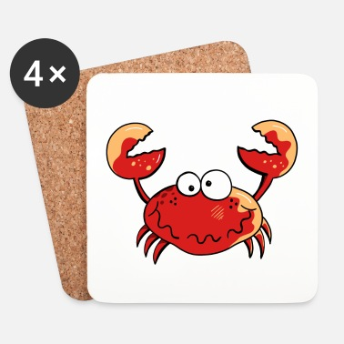 Crab Funny Crab - Sea - Crabs - Cartoon - Gift - Coasters (set of 4)