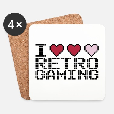 Old School I Heart Retro Gaming Quote - Sottobicchieri (set da 4 pezzi)