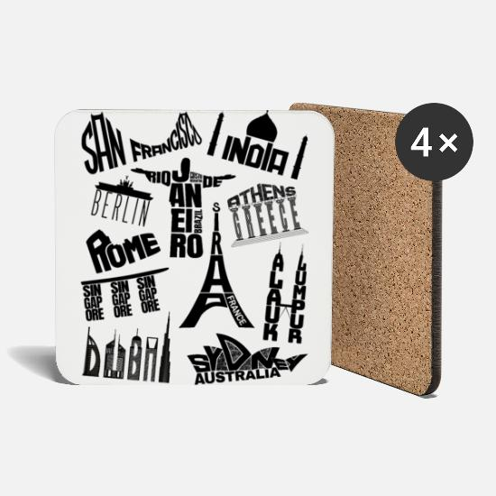 Singapore Mugs & Drinkware - World trip to famous architecture around the world - Coasters white