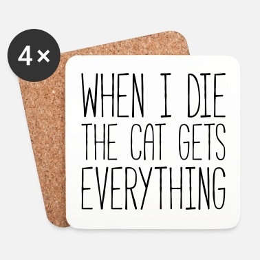 Cat Gets Everything Funny Quote - Lasinalustat (4 kpl:n setti)