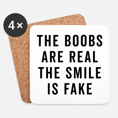 Fake The Boobs Are Real Funny Quote - Underlägg (4-pack)