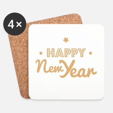 Nouvel An happy new year - Dessous de verre (lot de 4)