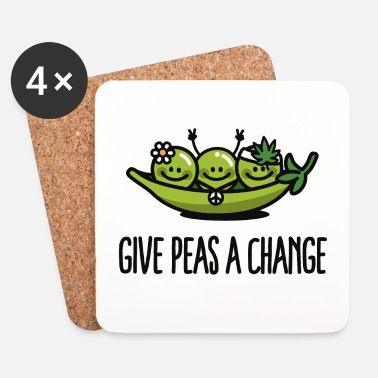 Hippie Give peas / peace a change hippies - Posavasos (juego de 4)