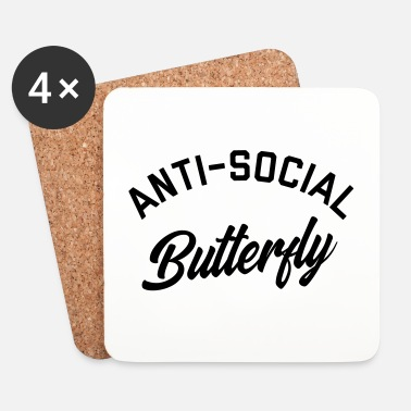 Anti Anti-Social Butterfly Funny Quote - Dessous de verre (lot de 4)