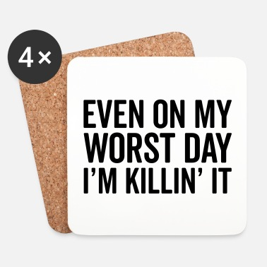 Training Worst Day Killin' It Gym Quote - Dessous de verre (lot de 4)