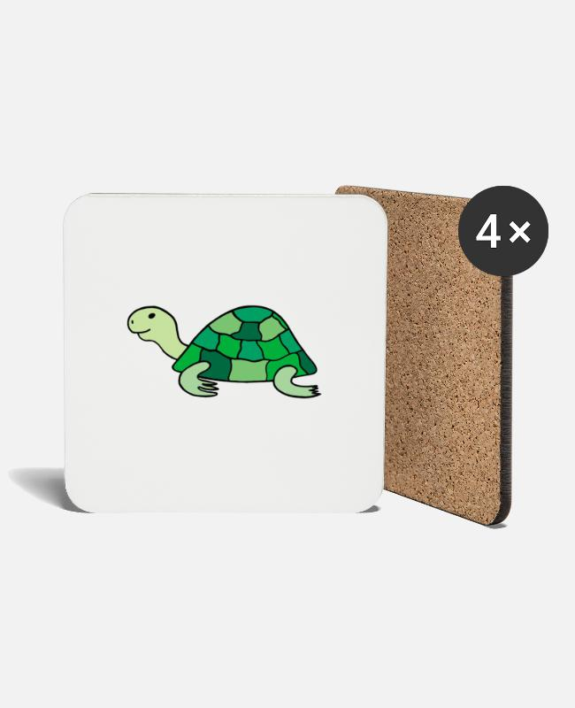 Turtle Mugs & Drinkware - Cute little cute turtle - Coasters white