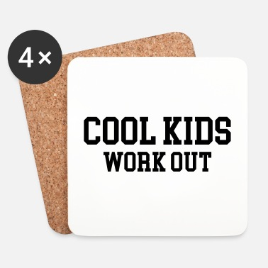 Squat Cool Kids Work Out Gym Quote - Glasbrikker (sæt med 4 stk.)