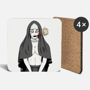 Undead Horror nun cigarette smoker fantasy tobacco - Coasters