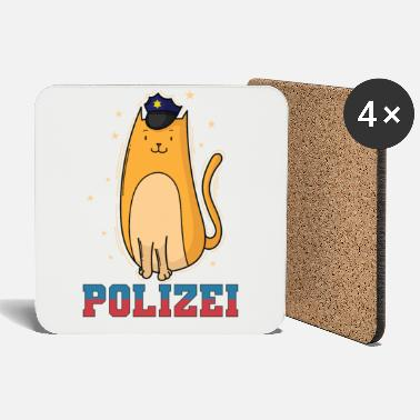 Childhood Police cat with police cap - Coasters