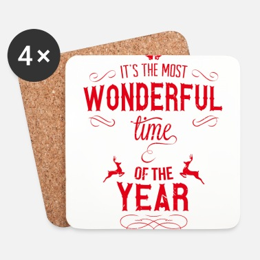 Xmas most_wonderful_time_of_the_year_r - Posavasos (juego de 4)