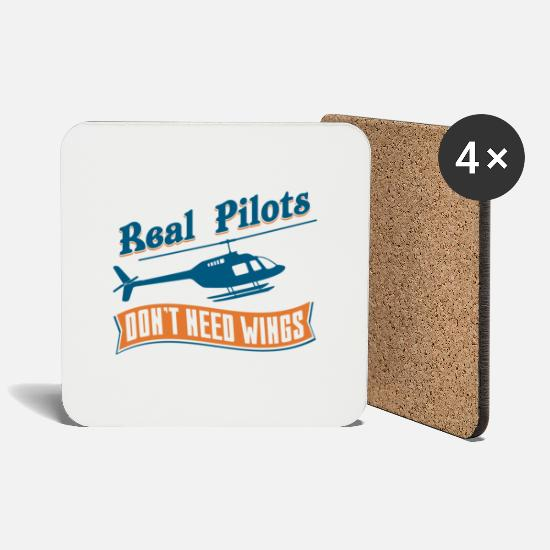Flight Mugs & Drinkware - Real Pilots Don't Need Wings - Coasters white
