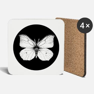 Vector Butterfly in the black circle - Coasters