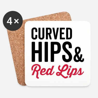 Hippie Curved Hips & Red Hips Quote - Dessous de verre (lot de 4)