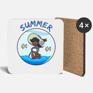Present Hawaii girl woman summer gift - Coasters
