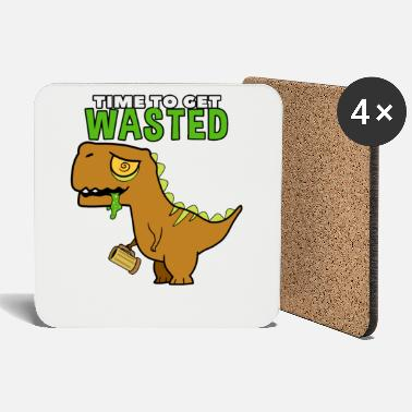 Dino Drunk dinosaur with spell - Coasters