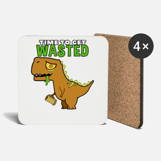 Dino Mugs & Drinkware - Drunk dinosaur with spell - Coasters white