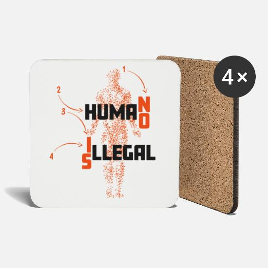 Border Mugs & Drinkware - No human is illegal No human is illegal - poison - Coasters white