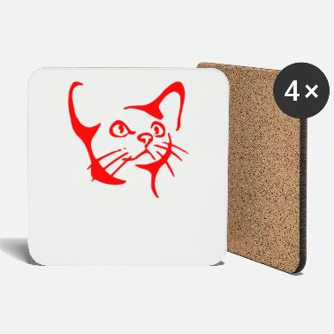 Hangover Little cat cute face gift cat face - Coasters