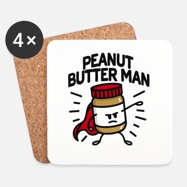 Grappig Peanut butter man (place on light background) - Onderzetters (4 stuks)