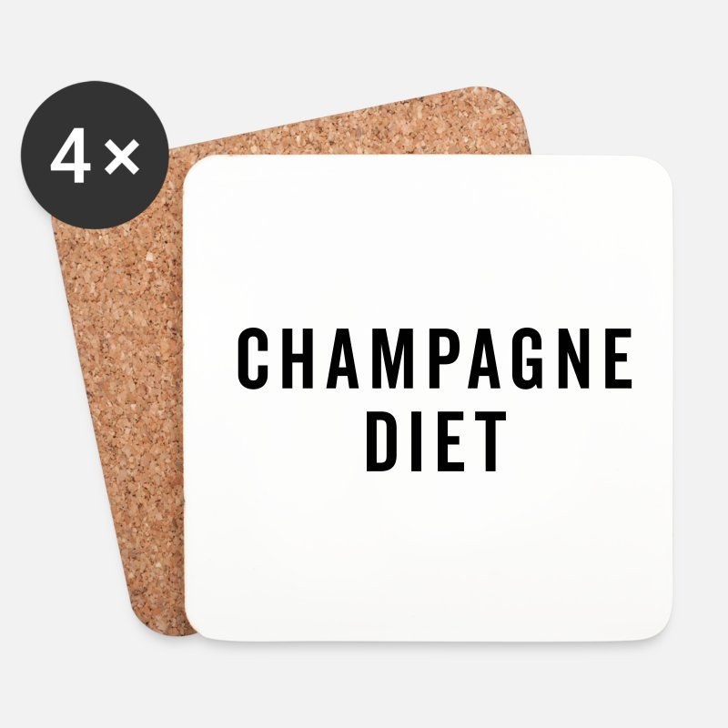 Bestseller Mugs & Drinkware - Champagne Diet Funny Quote - Coasters white