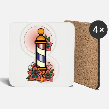 Poll Vintage Retro Barber Poll design Illustration Gift - Coasters