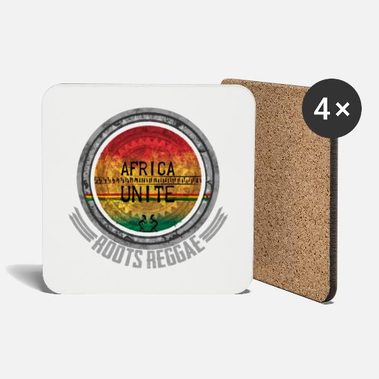 Rasta Mugs & Drinkware - Africa Unite Roots Reggae - Coasters white