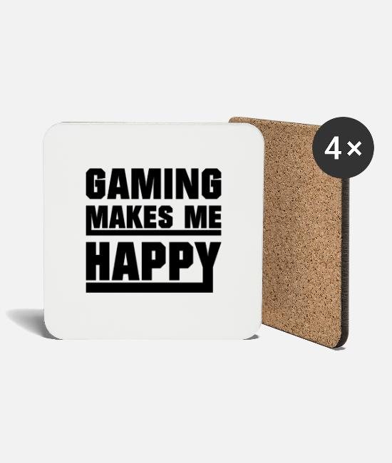 Quote Mugs & Drinkware - Gaming makes me happy - Coasters white