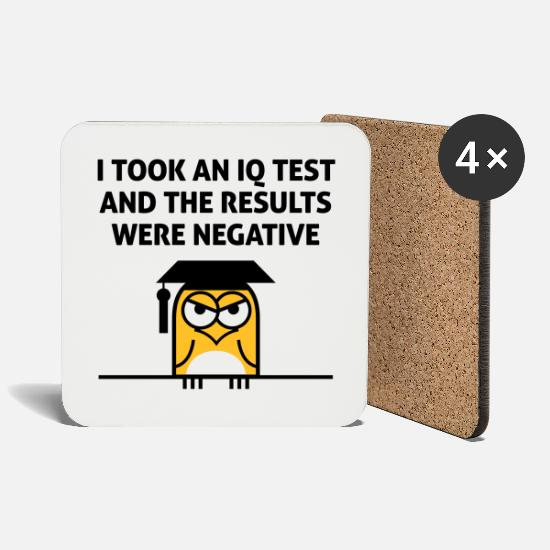 Funny Mugs & Drinkware - My IQ result was negative! - Coasters white