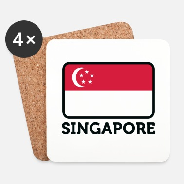 Kiinalainen National Flag of Singapore - Lasinalustat (4 kpl:n setti)