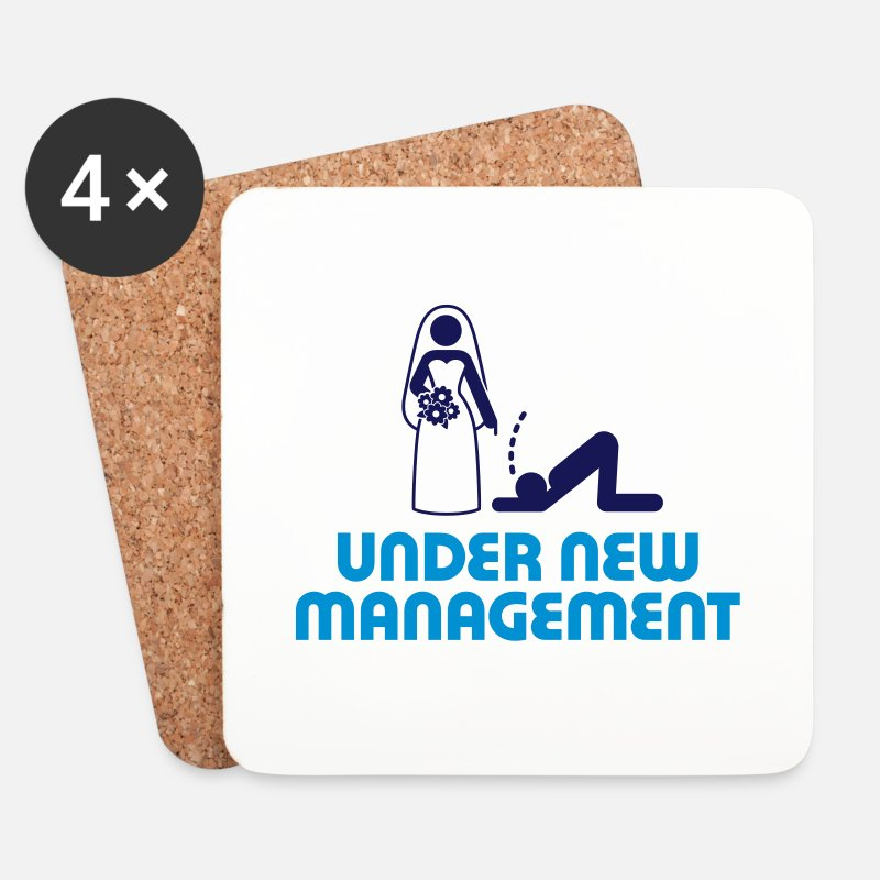 Funny Mugs & Drinkware - Under new management - Coasters white