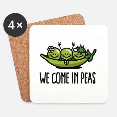 Hippie We come in peas / peace - Posavasos (juego de 4)
