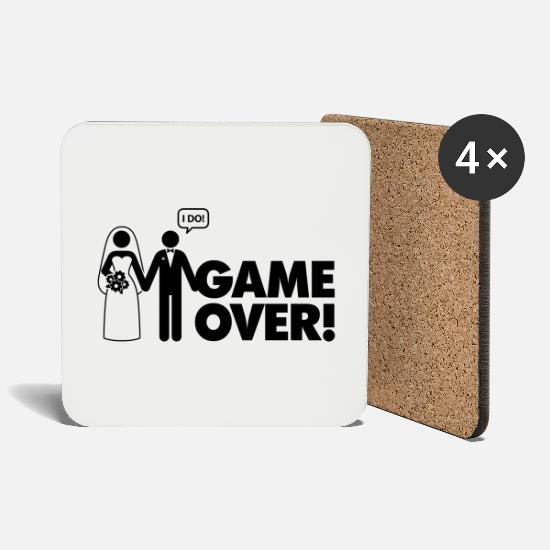 Wedding Mugs & Drinkware - Game over. I am married. - Coasters white
