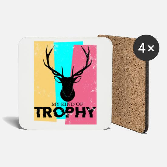 Red Deer Mugs & Drinkware - MY KIND OF TROPHY - Coasters white