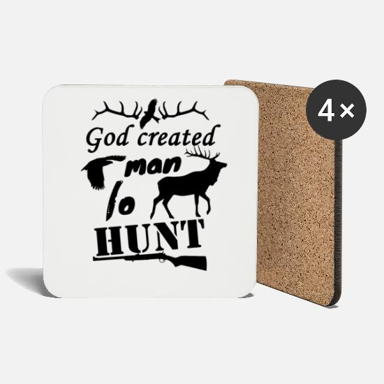 Stag Mugs & Drinkware - Hunt hunters - Coasters white
