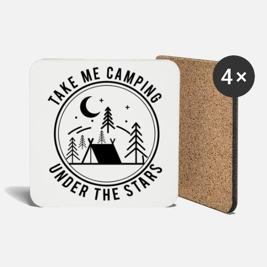 Camping Mugs & Drinkware - Take Me Camping Under The Stars bw - Coasters white