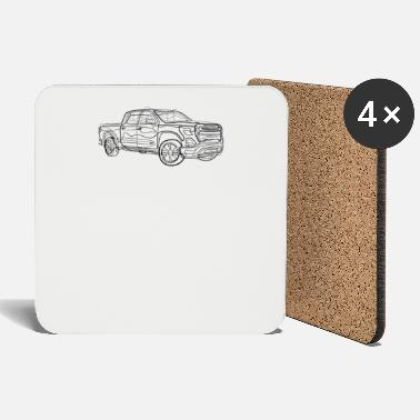 Pickup Line Pickup truck - one line drawing - Coasters