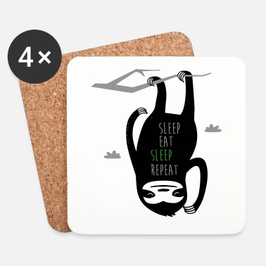 Chiller Sleep Eat Sleep Repeat Sloth - Dessous de verre (lot de 4)