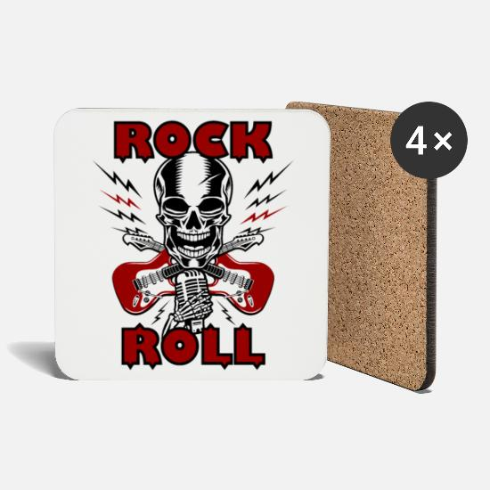 Birthday Mugs & Drinkware - Rock N'Roll - Music Electric Guitar Shirt Gift - Coasters white