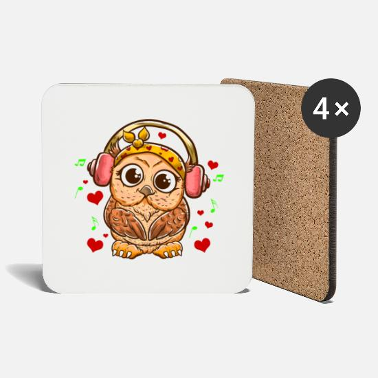 Love Mugs & Drinkware - Owl owl design sweet owl gift listening to music - Coasters white